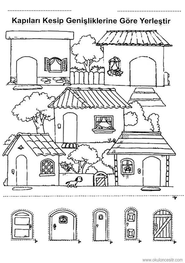 Evlerinden kapılarından kes yapıştır yöntemiyle geniş dar kavramı çalışmaları kağıdı sayfası, boyut kavramları ve geniş dar örnekleri etkinlikleri sayfaları resmi, boyut çalışma etkinliği kağıdı, siyah beyaz wide and narrow worksheets bilgisayara indir ve çıktı alma sitesi.