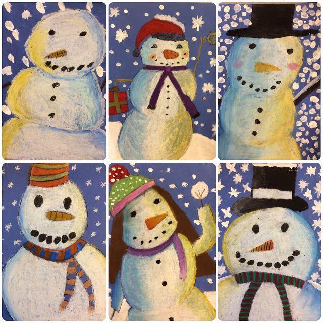 BES Art: Snowmen at Night in craypas.  Grade 4