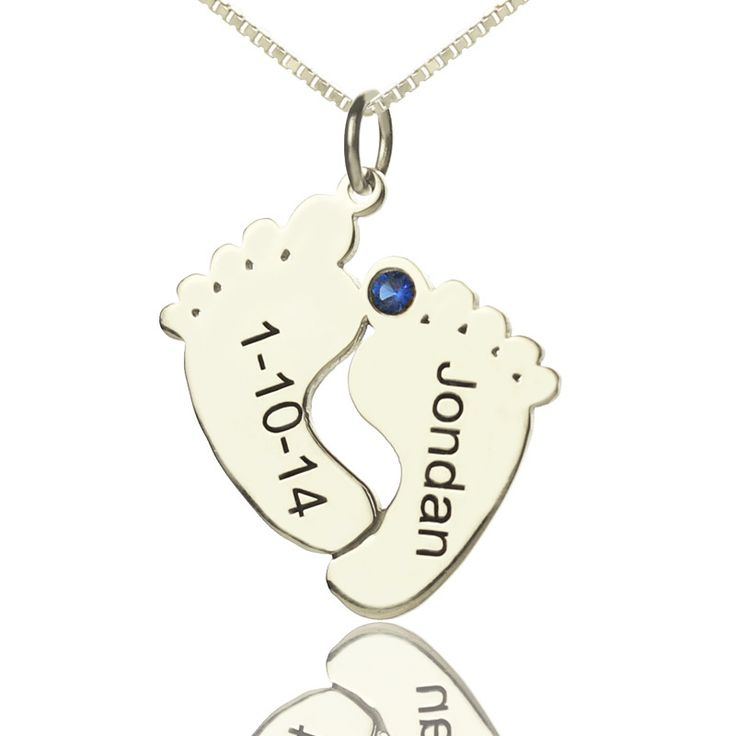 Sterling Silver Engraved Baby Feet Name Necklace with Birthstone