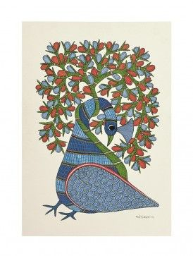 Peacock Gond Painting - 14in X - 10in By Rajendra Shyam
