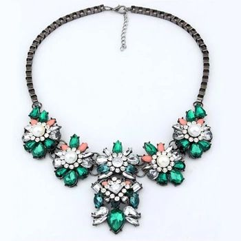 Newest fashion candy color pendant necklace gems chain necklace women choker necklace jewelry wholesale X407
