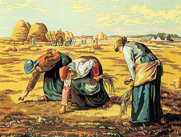NeedlepointUS - World-class Needlepoint - Margot Creations de Paris Needlepoint (Les Glaneuses) The Gleaners by Millet Medium Needlepoint Canvas, Famous Paintings, M133-3253