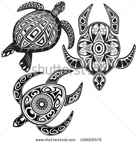 Vector Illustration Of Turtles In Maori Tattoo Style - 108008579 : Shutterstock