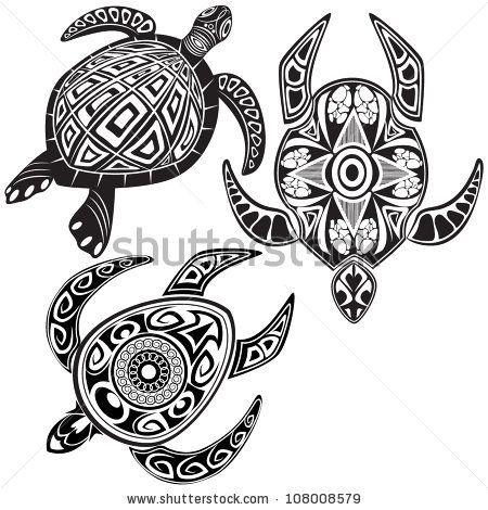 Turtles In Maori Tattoo Style