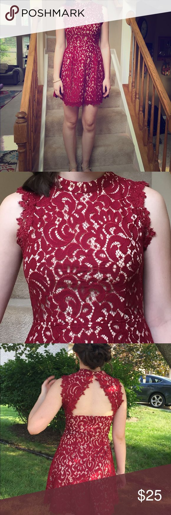 """Formal occasion dress, women's size M This is a gorgeous dress that I bought for my daughters homecoming dance. It was worn once. It has red lace overlay with nude colored fabric underneath. She is 5'9"""" and usually wears about a size 8 and it fit her beautifully. Bought at a boutique, no brand name on the label. Dresses Midi"""