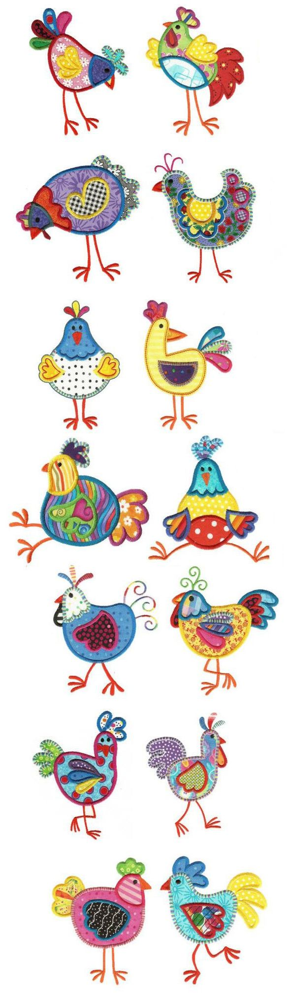 Funky Chickens Applique available for instant download at www.designsbyjuju.com