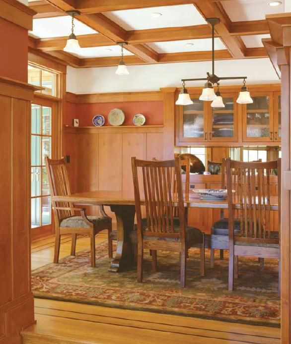 Cabinetry Built Into The Woodwork Was A Common Feature Of Arts U0026 Crafts  Dining Rooms. Note Table And Lighting