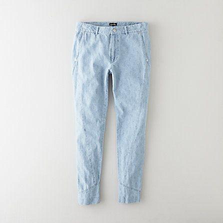 Pale printed denim pants with seam detail. Steven Alan.
