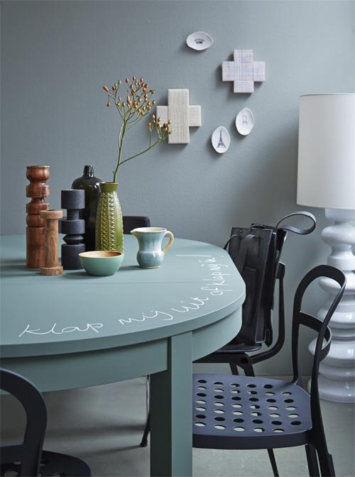 Schoolbordverf op tafel #diningroom #table Styling Fietje Bruijn | Fotografie Alexander van Berge