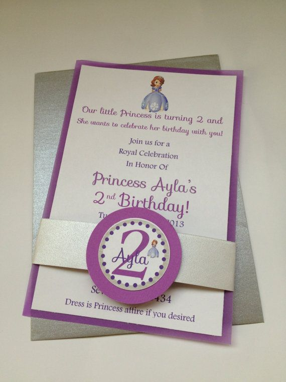 Sofia the First Birthday Party Invitations on Etsy, $30.00
