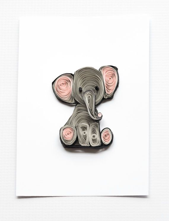 Quilled Art Work To Frame Pink And Gray Elephant Theme