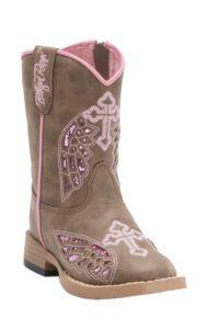 M&F Blazin Roxx Toddler Gracie Brown w/ Pink Wing Cross Zip Square Toe Western Boots | Cavender's