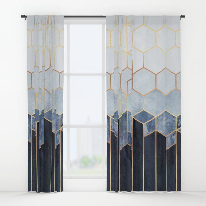 Buy Soft Blue Hexagons Window Curtains By Elisabethfredriksson Worldwide Shipping Availab Blue And Gold Curtains Blue And Gold Bedroom Gold And White Curtains
