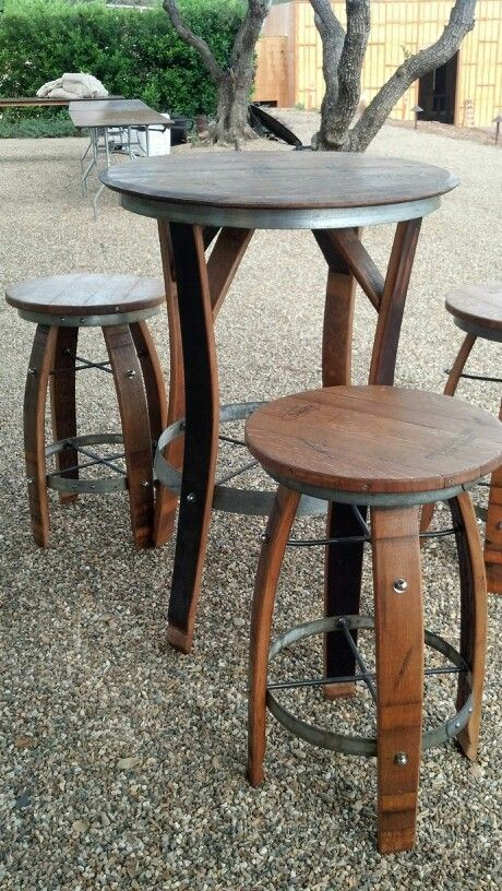 Barrel Stave Table And Stools