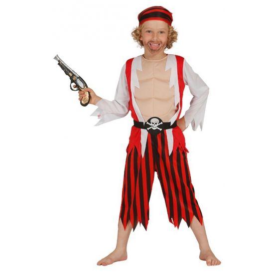 Piraten kostuum voor jongens. Dit kinder piraten kostuum bestaat uit een hoofdband, t-shirt met gilet, riem en broek.