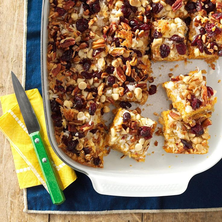 Pumpkin Delight Magic Bars Recipe -My mother never wrote down her delightful recipes, so I created this recipe as a holiday tribute to her. They're creamy, sweet and a little tart. At my house, we call them Pick Me Up Bars because you always want to have another. —Lisa Glassman, Boynton Beach, FL