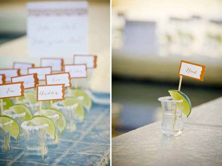 "Modern Mexico-Inspired Wedding Ideas  - ""Take a shot, take a seat!"" #escortcards #placecards"