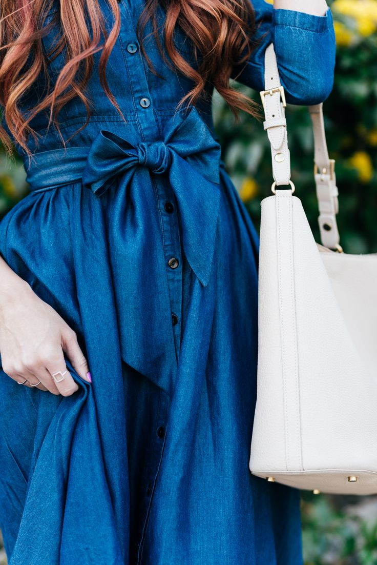 Dainty Jewell's modest denim dress | Little J Style Blog