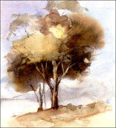 Watercolor trees - When painting groups of trees, vary tone, shape, size, direction and texture