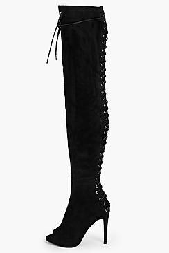 Lola Lace Up Back Peeptoe Over Knee Boot