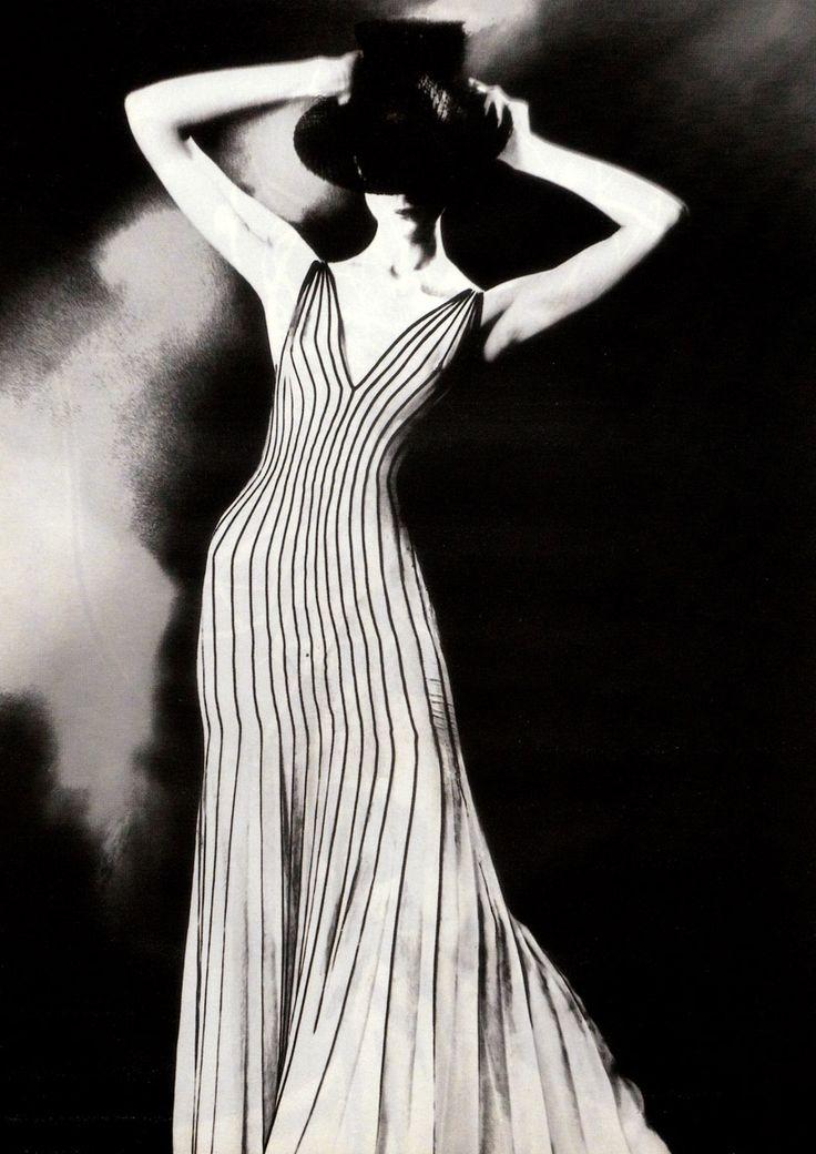 Krönung des Chic  Vogue Germany, December 1998,   Photographer: Lillian Bassman,   Dress by Thierry Mugler