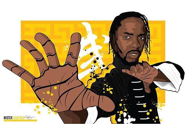 """""""KUNG FU KENNY"""" POSTER PRINTS AVAILABLE NOW!  Please RT/repost/share and tag me. I want him to see this!  Whoever has the most likes on Facebook, IG and most likes & RTs on Twitter will get a free 16x20 print! . . . . . . . . .  #MISTERSAMPSON #KENDRICK #KENDRICKLAMAR #DAMN #KUNGFU #KUNGFUKENNY #ILLUSTRATION # ARTIST  #LAART #SYRACUSE #LOSANGELES #DTLA #DTLAARTDISTRICT #YELLOW #GOLD #HIPHOP #TDE"""