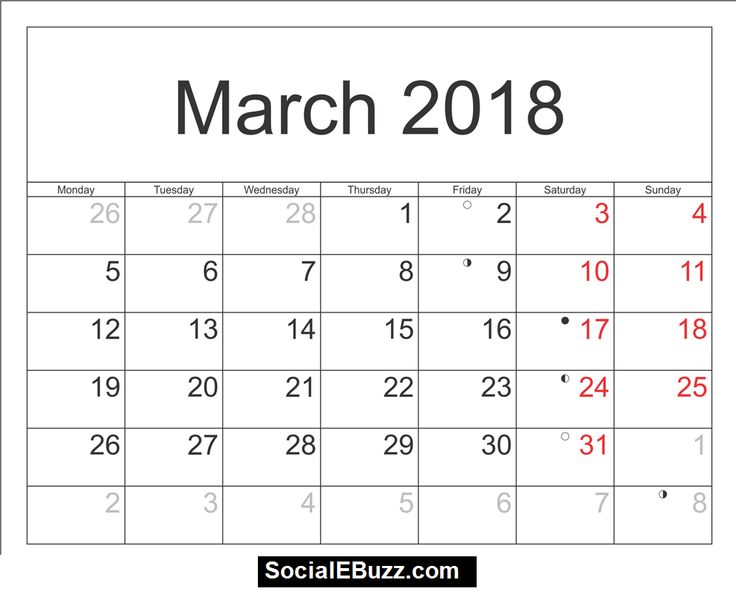 13 best March 2018 Calendar images on Pinterest Printable - blank calendar pdf