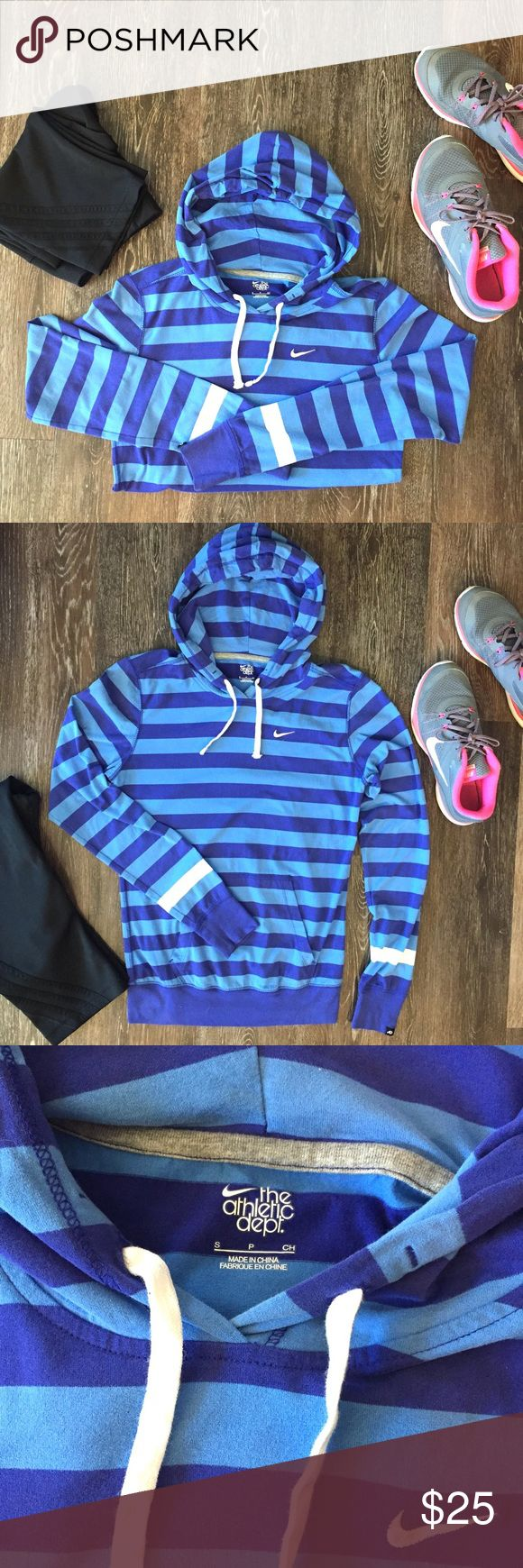 Nike striped hoodie Nike blue striped hoodie. In perfect condition! (I don't think I've actually ever worn this) Nike Tops Sweatshirts & Hoodies