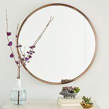 Metal Framed Round Mirror - Rose Gold