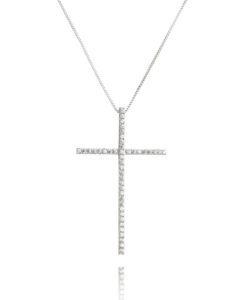 colar prata 925 crucifixo moderno com zirconias cristais e banho de rodio semi joias religiosas online