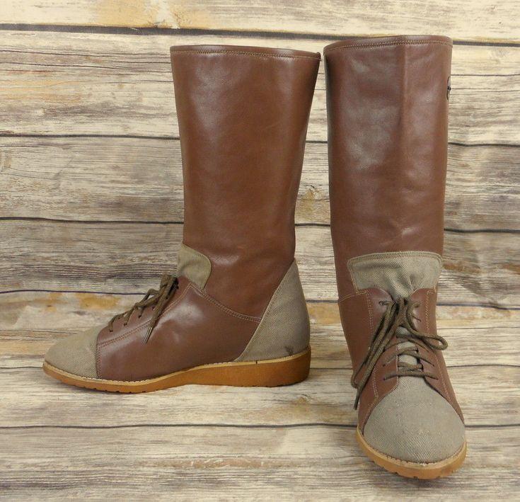 Sporto Fashion Boots Womens Size 7.5 Mid Calf Laces Retro Vintage 1980s Brown #Sporto #MidCalfBoots