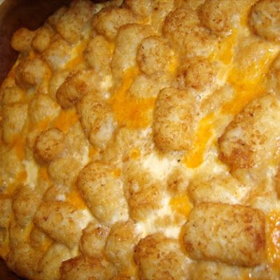 Tater Tot Breakfast Casserole - this is seriously the best and easiest recipe but I use 7-8 eggs instead of 4.