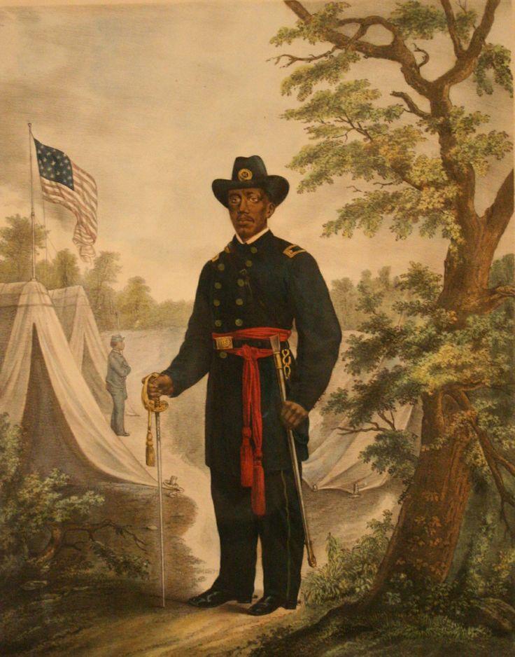 Peinture représentant le Dr Martin Delany, un  militant du Mouvement afro-américain des droits civiques naissant, nommé major de l'Union Army par le président Lincoln en 1865. Il fut un des deux officiers supérieurs Afro-Américain de l'Union Army. Il représente une des rares exception d'ascension hiérarchique des nombreux (environ 186 000) Afro-Américains libres, affranchis ou esclaves en fuite, à s'êtres enrôlés dans la Guerre de Sécession.