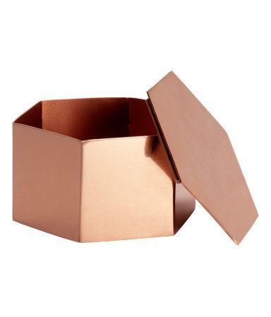 <3 Petite boite h&m - Sechseckige Metalldose mit Deckel. Höhe 4 cm, Durchmesser ca. 7 cm.