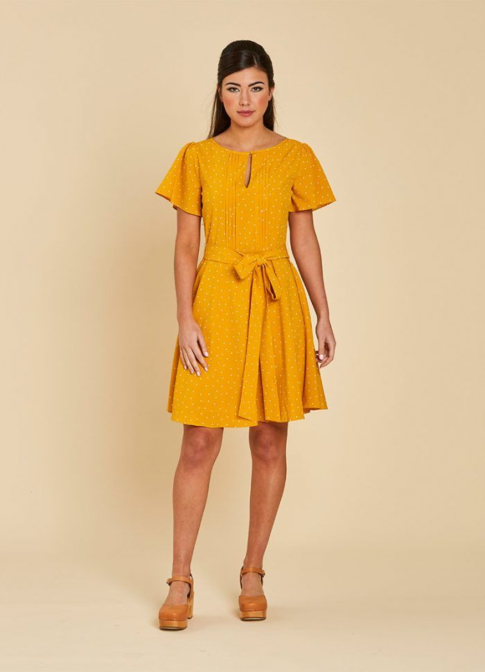 5d177b13482 Celia Polka Dot Tea Dress – Yellow (Size 10)