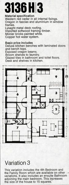 Material specifications list and plan for a Pettit and Sevitt home