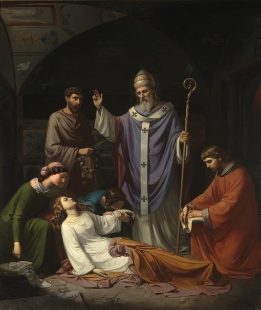 Entierro de Santa Cecilia en las catacumbas de Roma - Colección - Museo Nacional del Prado