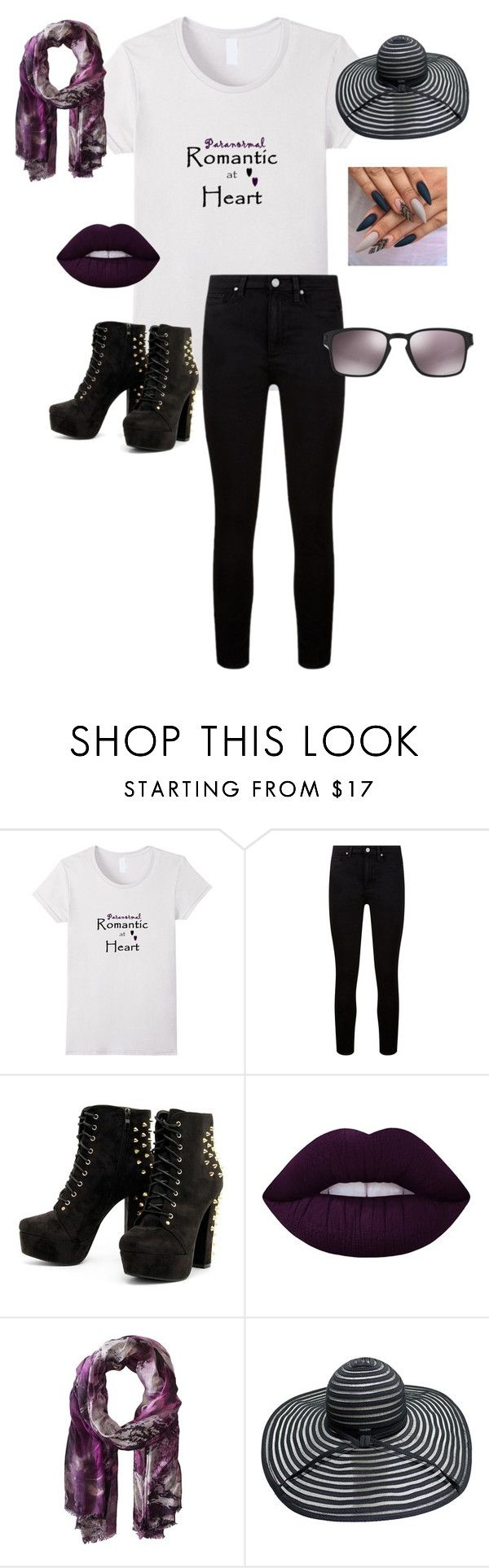 """""""Paranormal Romantic at Heart- Purple & Black"""" by fashionforwardtoday on Polyvore featuring Paige Denim, Lime Crime, Bindya, Oakley, casual, chic and paranormal"""