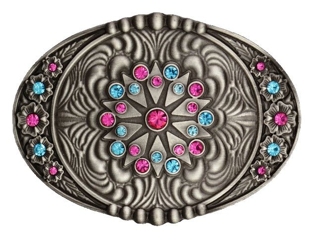 (MSA261) Psychedelic Starburst Flower Garden in Pastel Belt Buckle by Montana Silversmiths