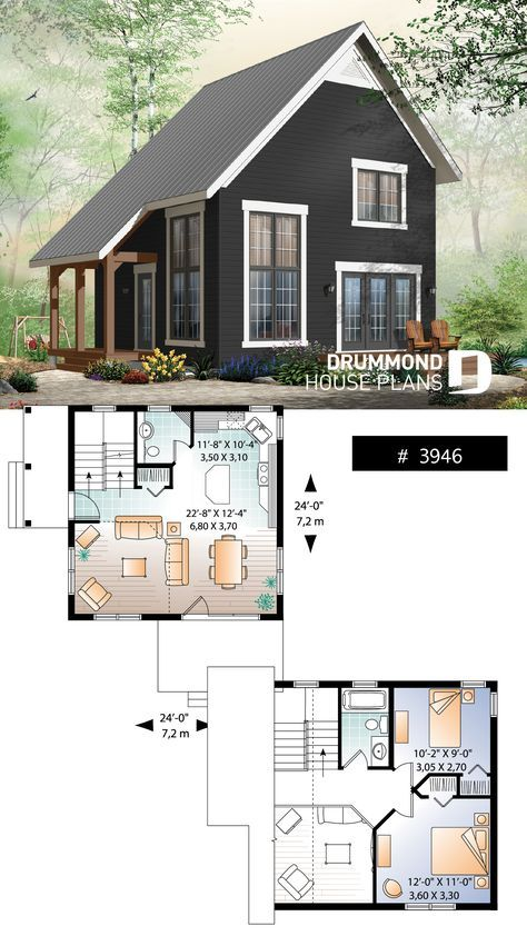2 bedroom transitional style cottage design, with …