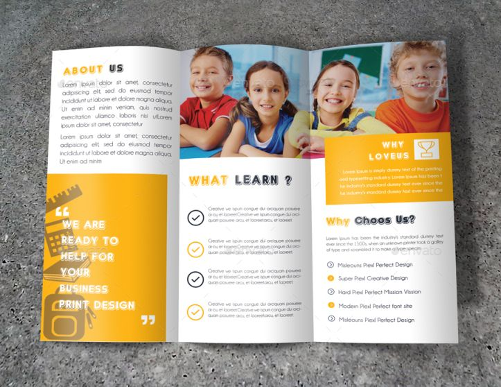 guidelines on writing and designing brochures for kids