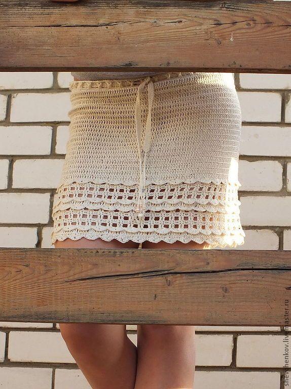 """Купить Юбка """"Саламанка"""" - бежевый, однотонный, юбка крючком, короткая юбка…"""