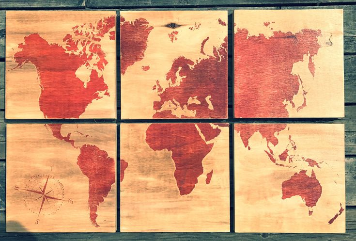24x36 world map screen printed with red stain by CreationsSauvages on Etsy