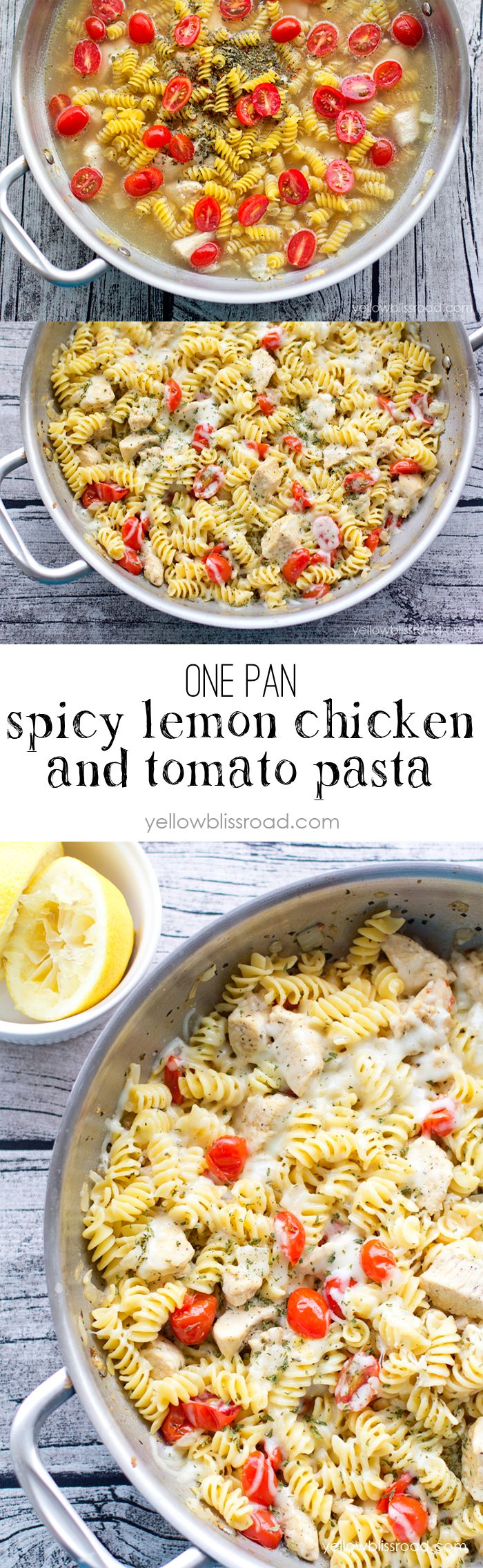 One Pan Spicy Lemon Chicken and Tomato Pasta - Cooks all in one pan and ready in under 20 minutes!