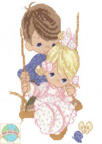 Precious Moments - Love is Kind - Cross Stitch World - this is a discontinued item, but it's so cute that I pinned it anyway.