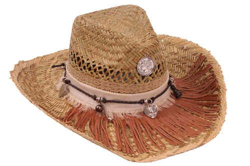 Strand Ibiza hoed (Cowboy), Ibiza mode, Bruine en beige 0539