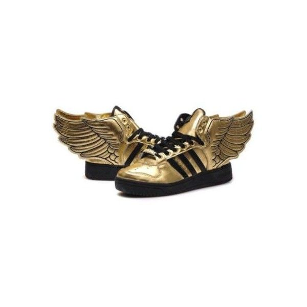 Jeremy Scott Adidas Wings- Gold, Size 13 Men's on eBay! ❤ liked on Polyvore featuring men's fashion, men's shoes, shoes, sneakers, adidas mens shoes, mens gold shoes, mens shoes and red wing mens shoes