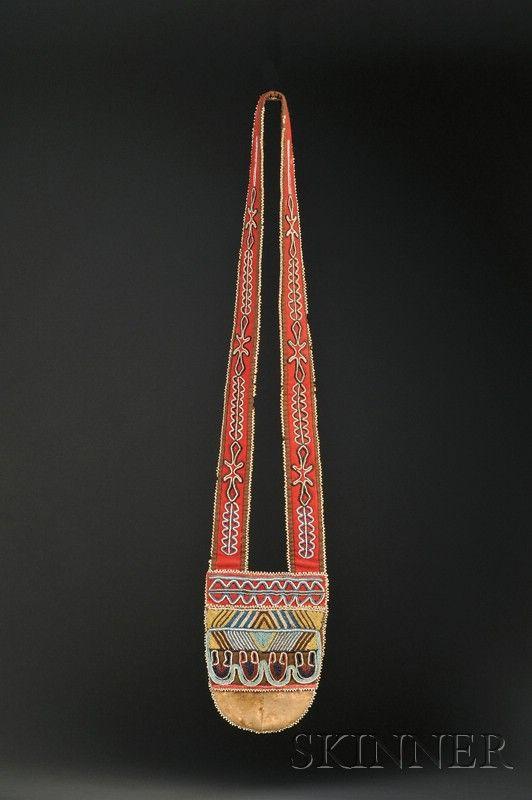 Tahltan Beaded Cloth and Hide Bandolier Bag