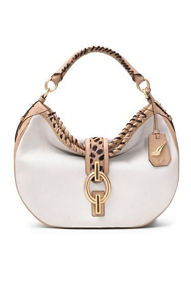 DVF - Sutra Leopard Laced Canvas Hobo Bag In Natural/ Leopard