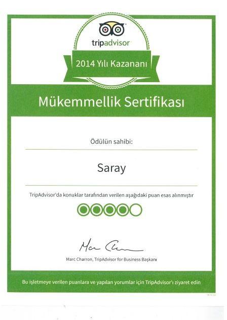 TripAdvisor 2014 Mükemmellik Sertifikası
